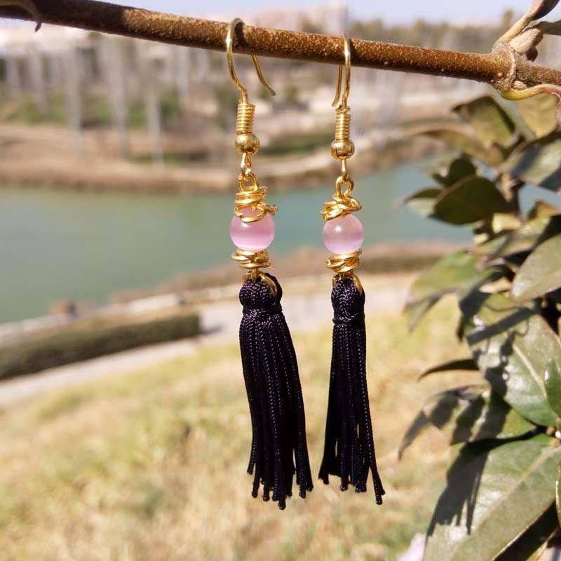 Black and pink womens tassel long earrings | Handmade jewelry online  Cloris®