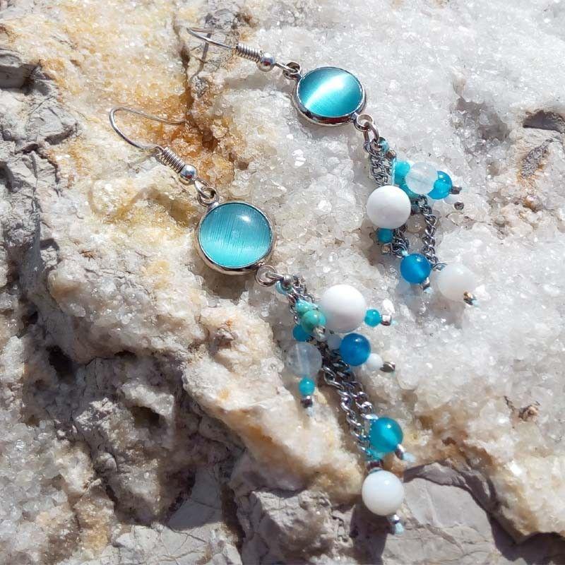 100% autentico 61bc1 cfb35 Pendientes ibicencos azul turquesa y plateado con nácar y ágatas