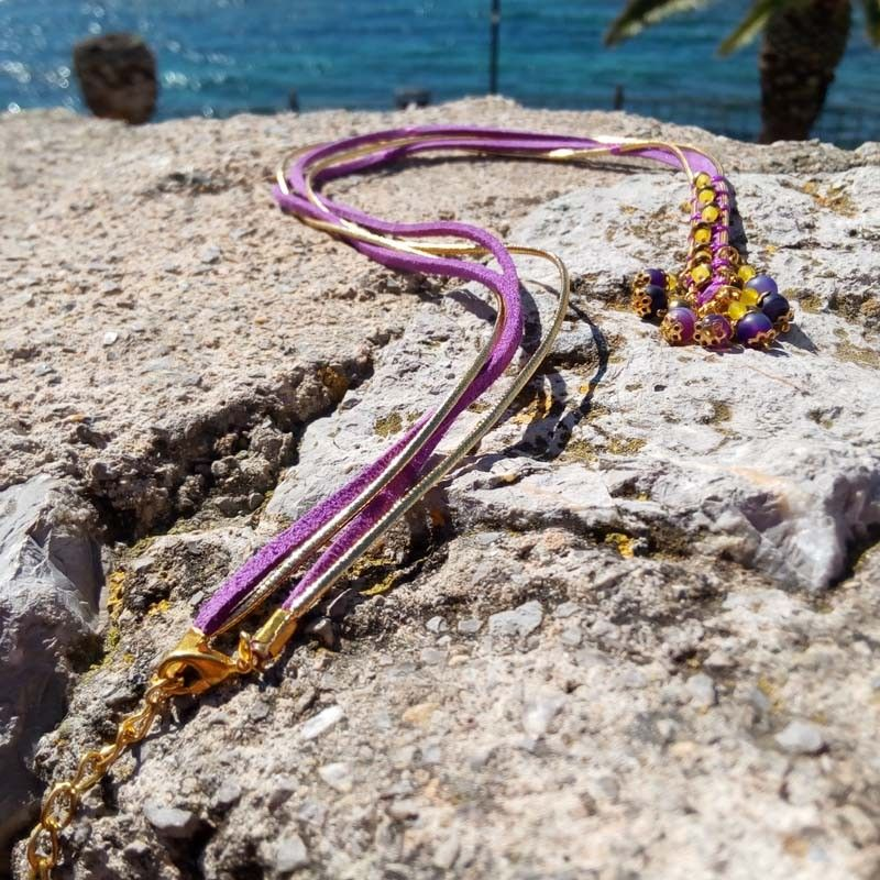 Femme Collier Violet Pour Et En Or Fetes Multicolore Y9I2HWED