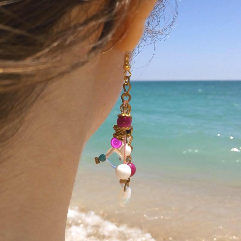 Multicolored long womens earrings with pink agate and turquoise | Handmade  jewelry online Cloris®