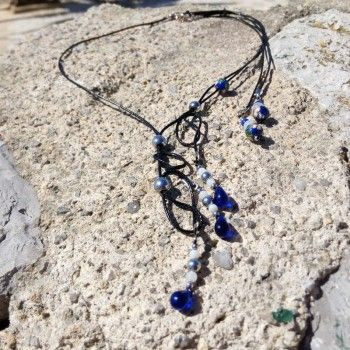 1aa1eb7bd443 Collar de mujer negro y azul oscuro con cristal checo